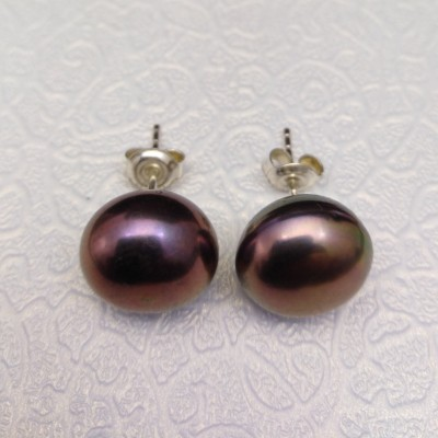 Earrings - pearls opalescent bronze PK19-D