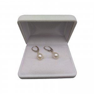 Earrings with real white pearls 9 - 11 mm on the silver biglu English PK20-A