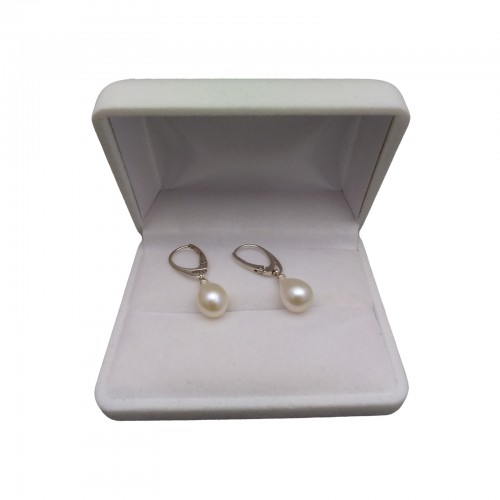Earrings with pearls natural white PK20-A
