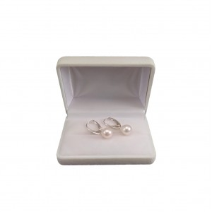 Earrings with real white pearls 8 - 9 mm on the silver biglu English PK20-A