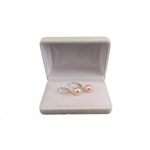 Earrings with natural pink pearls 9 - 10 mm on silver English earwires PK20-B