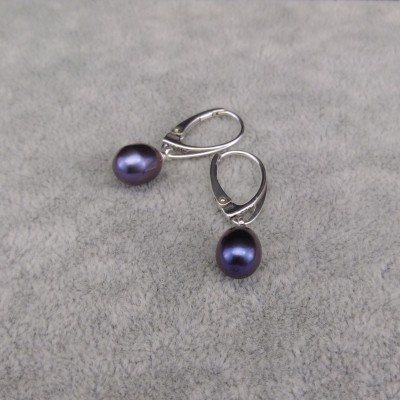 Silver earrings with purple beads 9-10 mm on the fastener in English PK16-A