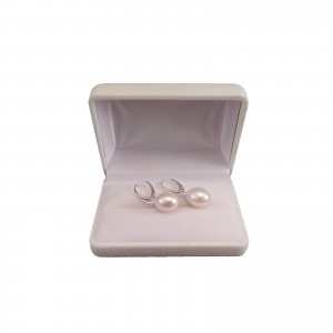 Earrings with natural white pearls 12 - 13 mm English earwires PK25