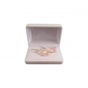 Earrings with natural pink keshi pearls on silver English earwires PK42