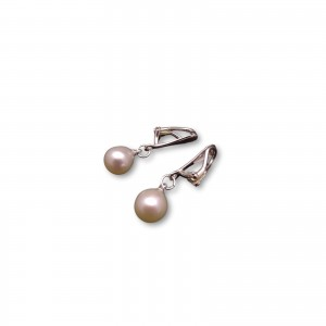 Clip with white pearls in the shape of a 10 mm teardrop PKK20-A