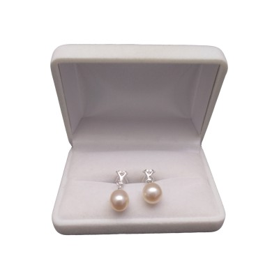 Earrings with pink pearls in the shape of a teardrop 10 mm PKK37