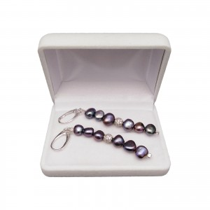 Hanging earrings with graphite pearls corn 8 - 9 mm with cubic zirconia 7 cm PKW10-D