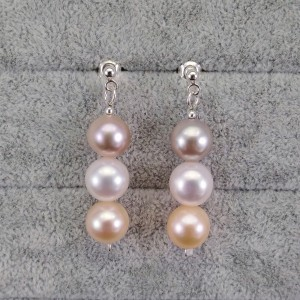 Hanging earrings with round pearls on the stick PKW13 MIX