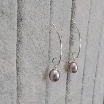 Silver earrings with real pearls on open ear wire PKW17-1
