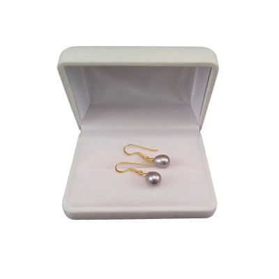 Silver earrings with real pearls on gold-plated open earwires PKW17-2