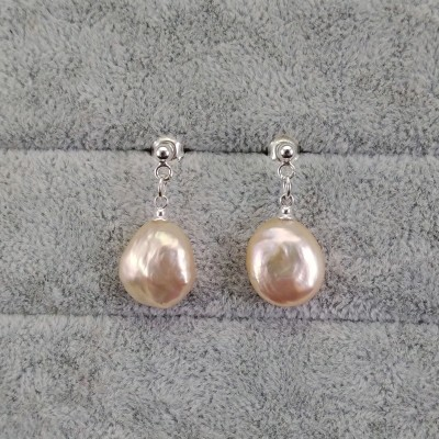 Earrings hanging with irregular pink pearl coin on a stick PKW21-E