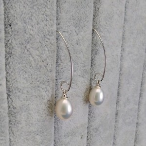 Decorative earrings made of real white pearls on PKW36 open ear wire