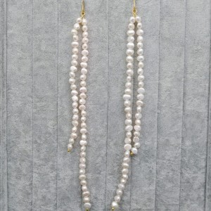 Hanging earrings with white pearls double 21 cm and 14.5 cm PKW52-B