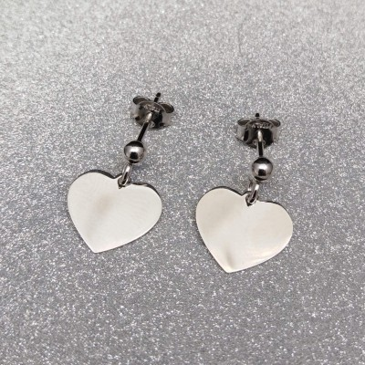 Silver earrings large hearts with ball SK07