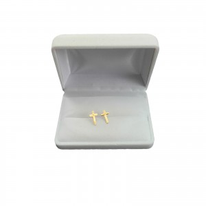Silver earrings with gold plated crosses SK14M