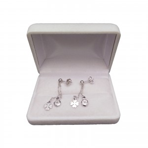 Silver celebrity earrings with zircon and clover with a length of 4,5 cm SKCW01