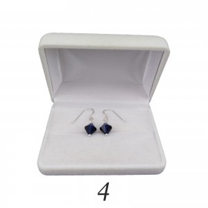 Silver earrings regular blue crystals with a length of 2,5 cm SKK02