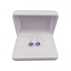 Silver earrings regular purple crystals with a length of 2,5 cm SKK03
