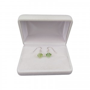 Silver earrings regular green crystals with a length of 2,5 cm SKK04