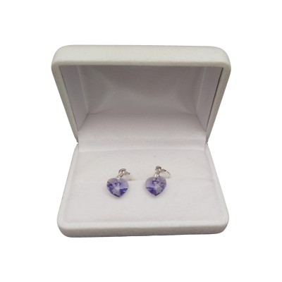 Silver earrings with a purple heart-shaped crystal with a length of 3 cm SKK10