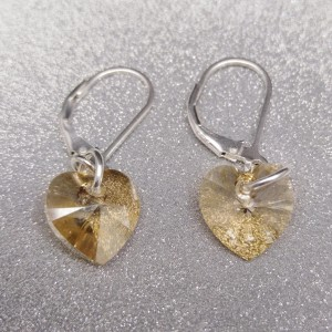 Silver earrings with yellow crystal heart shape with a length of 3 cm SKK13