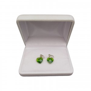 Silver earrings with green crystal heart shape with a length of 3 cm SKK15
