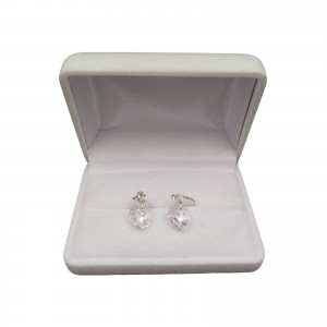 Silver earrings with transparent crystals in the shape of a heart with a length of 3 cm SKK16