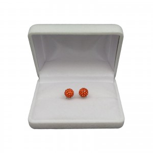 Silver earrings round orange zirconia SKK21