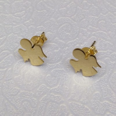Silver earrings with golden angels SPK02