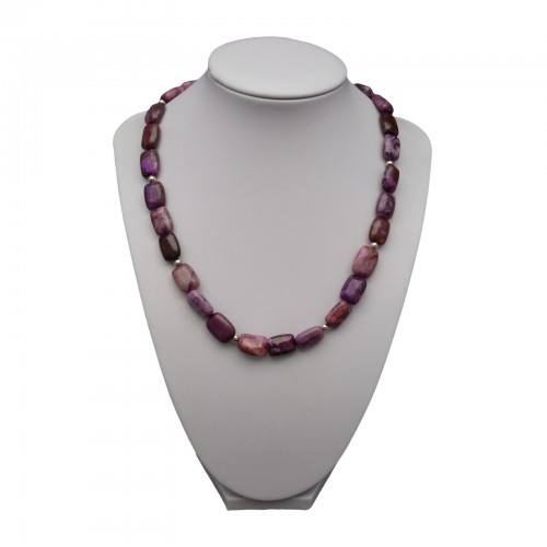 Purple agate necklace with silver elements 44 cm KN21