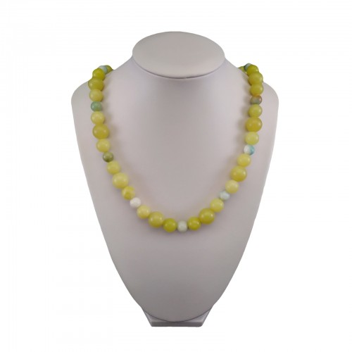 Green jade and amazonite necklace with gold-plated clasp 55 cm KN23MIX