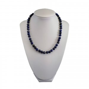 Necklace from blue lapis lazuli with decorative silver balls 42 cm KN28