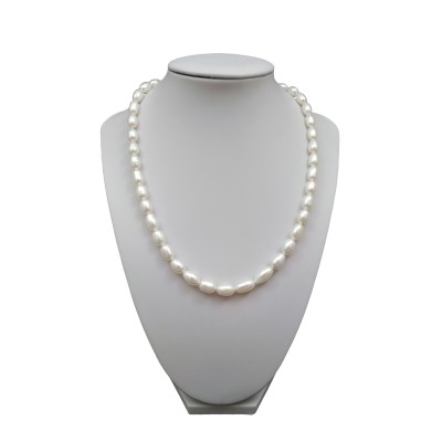 Necklace made of real white rice pearls 46 cm PN08