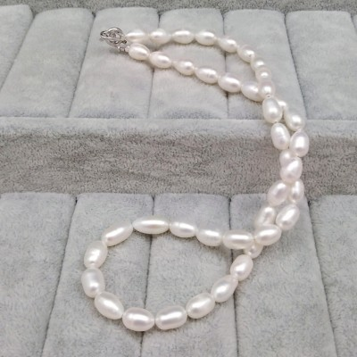 White rice necklace 46 cm PN08