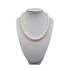 Necklace made of real white round pearls 45 cm PN13-B