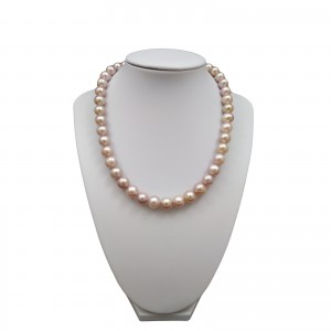 Necklace made of real pink round pearls 43 cm PN13-D
