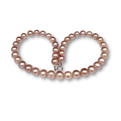 Necklace made of pink pearls 43 cm PN13-D