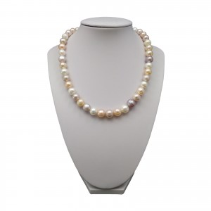 Decorative necklace made of natural multicolour round pearls 43 cm PN13MIX