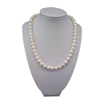 Classic necklace made of real white round pearls 47 cm PNP24