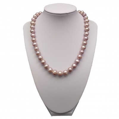Necklace made of real pink round pearls 46 or 48 cm PNS13-D