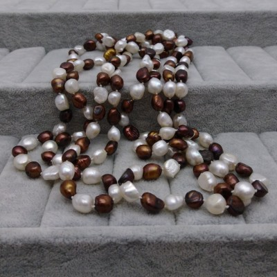 Necklace made of real brown and white pearls 200 cm long rope corn PEG01