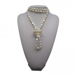 Cord of pearls 160 cm - white PEG04