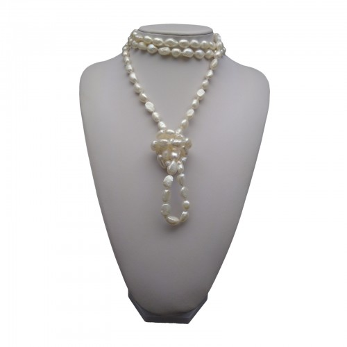 Necklace made of real white pearls 160 cm long rope corn PEG04