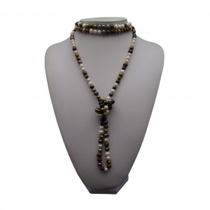 Necklace made of real multicolour pearls 160 cm long rope PEG07-B