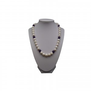Decorative necklace made of natural white amethyst pearls PES13B-KA07