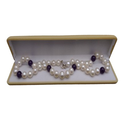 Necklace - white round pearls and amethyst PES13B-KA07