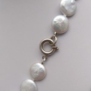 Silver necklace with real coin pearls 47 cm PES1601E16-1