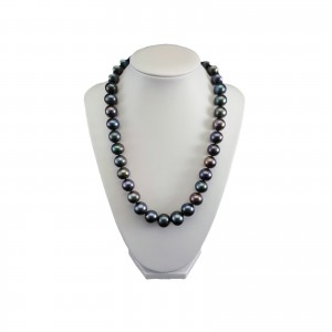 Necklace made of real large round graphite pearls 49 cm PNS01-J