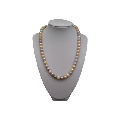 Silver necklace with real multicolour round pearls 45 cm  PNS02-D