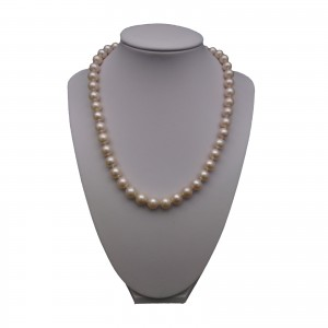 Silver necklace with real round pink pearls 44,5 cm PNS02-B